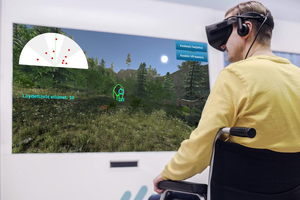 rehabwall rééducation casque VR et fauteuil roulant